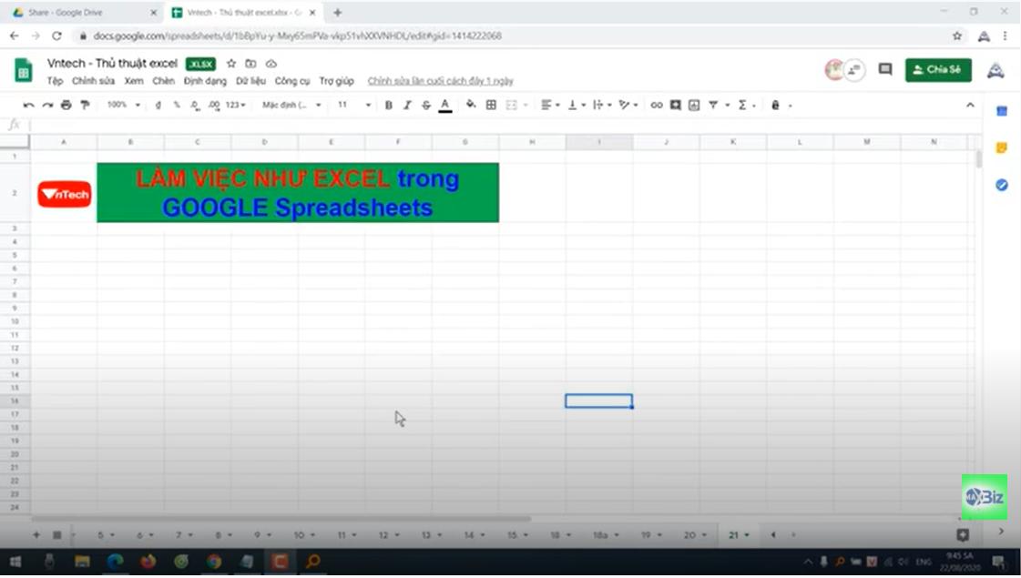 Làm việc file excel online bằng Google Spreadsheet